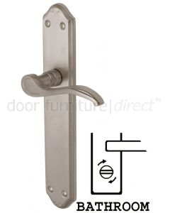 Verona Long Scroll Lever Satin Nickel Bathroom Lock Door Handles