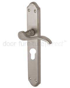 Verona Long Scroll Lever Satin Nickel 48mm Euro Cylinder Door Handles