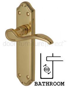 Verona Small Scroll Lever Polished Brass Bathroom Door Handles