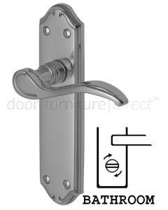 Verona Small Scroll Lever Polished Chrome Bathroom Door Handles