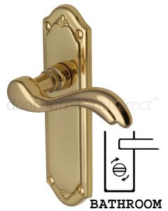 Lisboa Scroll Lever Polished Brass Bathroom Door Handles