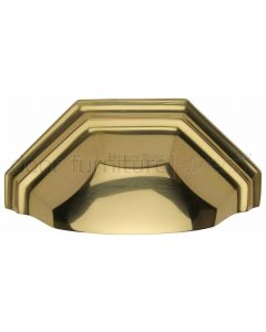 Heritage Polished Brass Shaped Drawer Pull 104mm