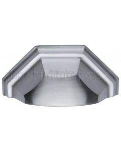 Heritage Satin Chrome Shaped Drawer Pull 104mm