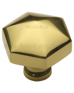 Polished Brass Hexagon Cabinet Knob 32mm