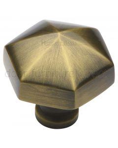 Antique Brass Hexagon Cabinet Knob 32mm