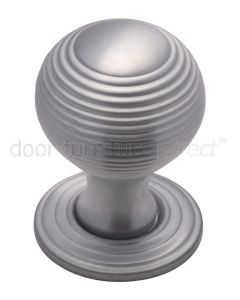 Satin Chrome 32mm Reeded Ball Cupboard Knob