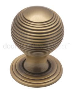 Distressed Brass 32mm Reeded Ball Cupboard Knob