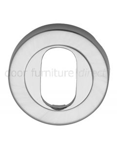Satin Chrome Round Oval Profile Escutcheon 53mm