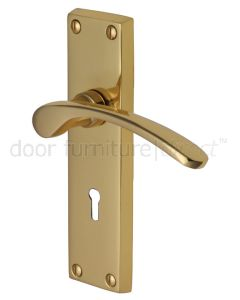 Sophia Polished Brass Curved Lever Keyhole Door Handles