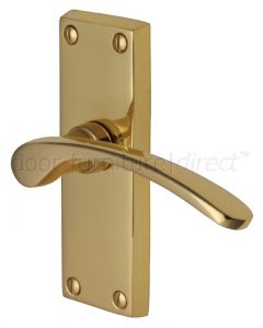 Sophia Curved Lever Polished Brass Short Plate Latch Door Handles