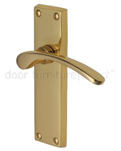Sophia Curved Lever Polished Brass Long Plate Latch Door Handles