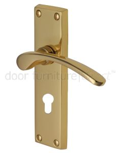 Sophia Curved Lever Polished Brass 48mm Euro Cylinder Door Handles