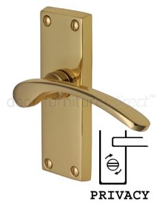 Sophia Curved Lever Polished Brass Privacy Lock Door Handles