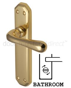 Charlbury Contoured Lever Polished Brass Bathroom Lock Door Handles