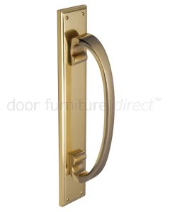 Polished Brass D Style Door Pull Handle on Backplate 460x76mm