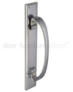 Polished Chrome D Style Door Pull Handle on Backplate 460x76mm