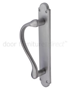 Satin Chrome Offset Style Door Pull Handle on Backplate 293x47mm