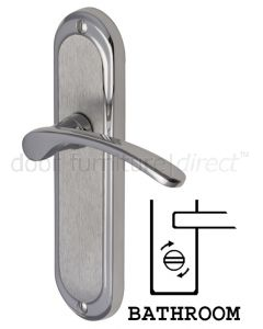 Ambassador Curved Lever Dual Finish Chrome Bathroom Lock Door Handles