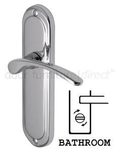 Ambassador Curved Lever Polished Chrome Bathroom Lock Door Handles