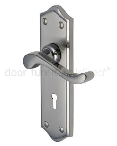 Buckingham Scroll Lever Dual Finish Nickel Keyhole Door Handles