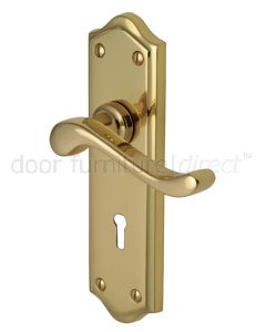Buckingham Scroll Lever Polished Brass Keyhole Door Handles