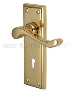 Edwardian Scroll Lever Polished Brass Keyhole Door Handles