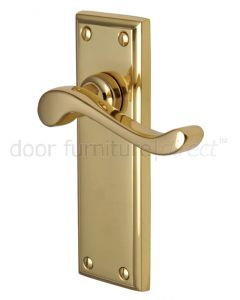 Edwardian Scroll Lever Polished Brass Latch Door Handles
