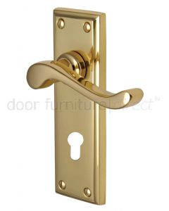 Edwardian Scroll Lever Polished Brass 48mm Euro Cylinder Door Handles