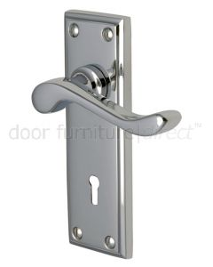 Edwardian Scroll Lever Polished Chrome Keyhole Door Handles