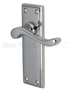 Edwardian Scroll Lever Polished Chrome Latch Door Handles