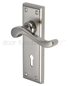 Edwardian Scroll Lever Dual Finish Nickel Keyhole Door Handles