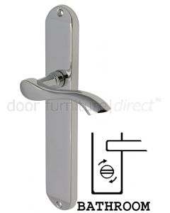 Algarve Shaped Lever Polished Chrome Bathroom Door Handles