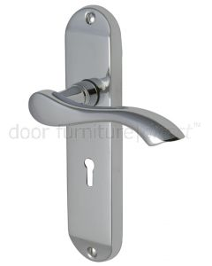 Algarve Small Shaped Lever Polished Chrome Keyhole Door Handles