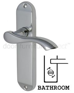 Algarve Small Shaped Lever Polished Chrome Bathroom Door Handles