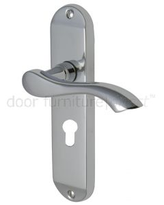 Algarve Small Shaped Lever Polished Chrome 48mm Euro Door Handles