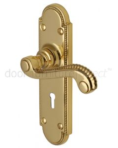 Adam Scroll Lever Polished Brass Keyhole Door Handles