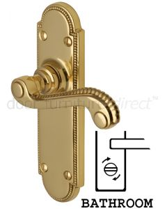 Adam Scroll Lever Polished Brass Bathroom Door Handles
