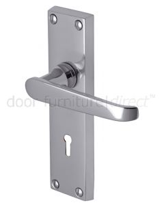 Victoria Straight Lever Polished Chrome Keyhole Door Handles