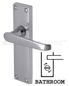 Victoria Straight Lever Polished Chrome Bathroom Door Handles