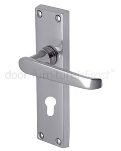 Victoria Straight Lever Polished Chrome 48mm Euro Cylinder Door Handles