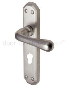 Charlbury Contoured Lever Satin Nickel 48mm Euro Cylinder Door Handles