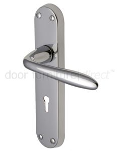 Sutton Straight Lever Polished Chrome Keyhole Door Handles