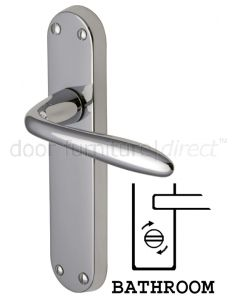 Sutton Straight Lever Polished Chrome Bathroom Lock Door Handles