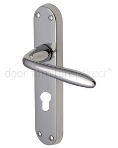 Sutton Straight Lever Polished Chrome 48mm Euro Cylinder Door Handles