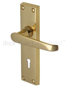 Victoria Straight Lever Polished Brass Keyhole Door Handles