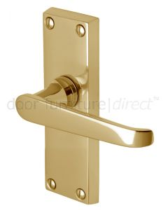 Victoria Straight Lever Polished Brass Short Latch Door Handles