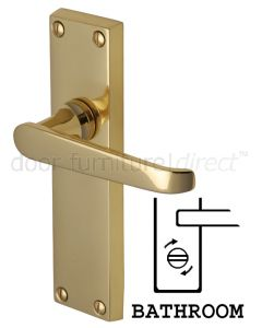 Victoria Straight Lever Polished Brass Bathroom Door Handles