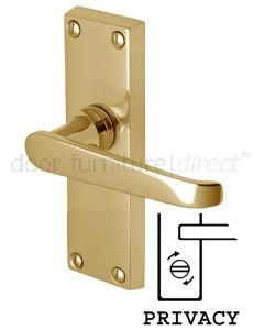 Victoria Straight Lever Polished Brass Privacy Lock Door Handles