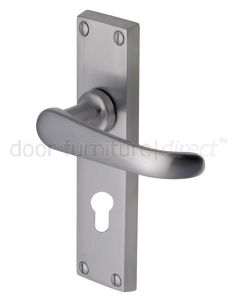 Windsor Straight Lever Satin Chrome 48mm Euro Cylinder Door Handles