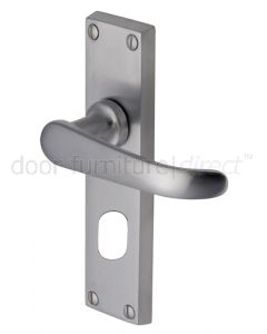 Windsor Straight Lever Satin Chrome Oval Cylinder Door Handles
